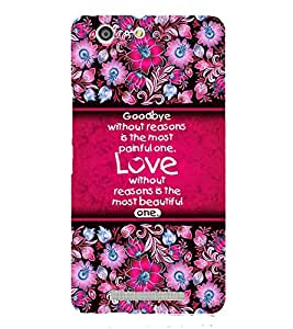 Love Quote Cute Fashion 3D Hard Polycarbonate Designer Back Case Cover for Gionee Marathon M5