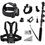 Deyard ZG-634 GoPro Accessories Kit Premium Set for GoPro Hero4 Session Hero 4 Silver Black Hero 3+ 3 2 SJ4000 SJ5000+: Head Strap Mount +Chest Harness with J-hook Mount +Wrist Mount +Extendable Handheld Monopod with Tripod Mount +Flexible Phone Clamp +Thumbscrew +Deyard Fiber Cloth