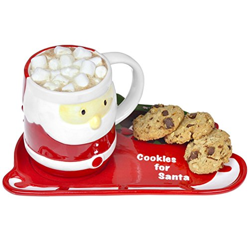 Ceramic Milk And Cookies For Santa
