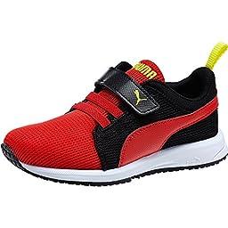 Puma Carson Runner V Kids Athletic Shoe (2, Red-Black-Sulphur Spring)