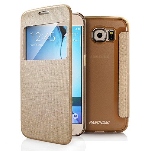 Galaxy S6 Case, Pasonomi® [Smart Window View] Samsung Galaxy S6 Folio Wallet Case - Slim Flip Leather Case For Samsung Galaxy S6 Smartphone (Golden) (Smartphone Cases For Samsung compare prices)