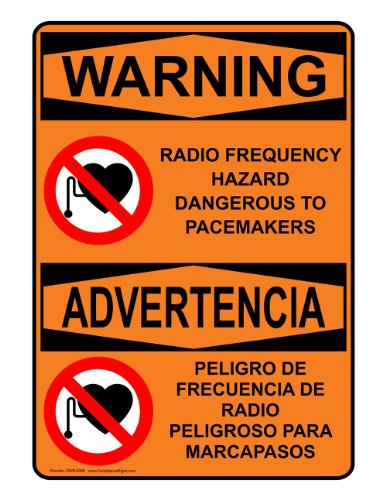 Compliancesigns Plastic Osha Warning Sign, 14 X 10 In. With Mri / X-Ray / Microwave Info In English + Spanish, Orange