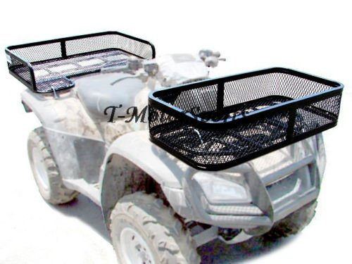 Univerisal Heavy Duty Front and Rear ATV Quad UTV Cargo Rack Basket Carrier Combo Set with Mounting Hardware