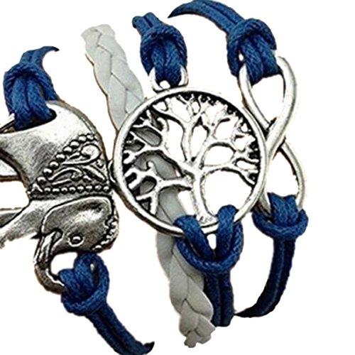 Meily(TM) Handmade Charms Tree Elephant Knit Leather Rope Chain Bracelet