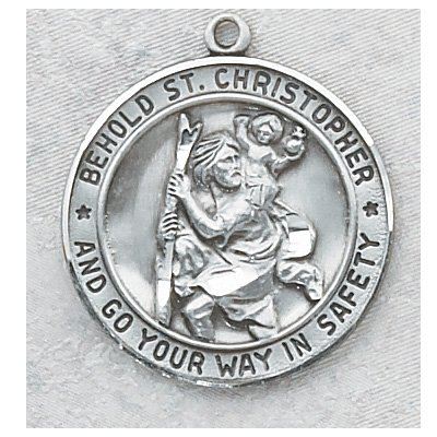 Sterling Silver Saint Christopher Round Necklace