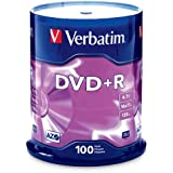Verbatim 4.7 GB up to 16x Branded Recordable Disc DVD+R 100-Disc Spindle 97459