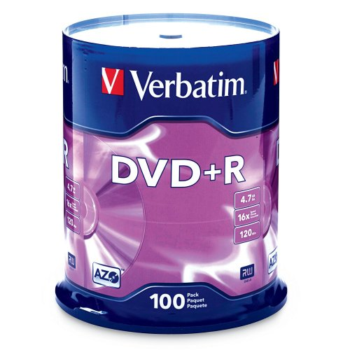Verbatim 4.7GB up to 16x Branded Recordable Disc DVD R 100-Disc Spindle FFP 97459