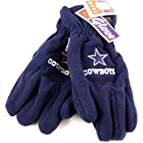 Dallas Cowboys Fleece Gloves Solid Blue Embroidered Logo (One Size Fits Most)