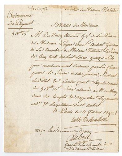 Princess Victoire - Fille De France - Autographed Manuscript 1792 Document