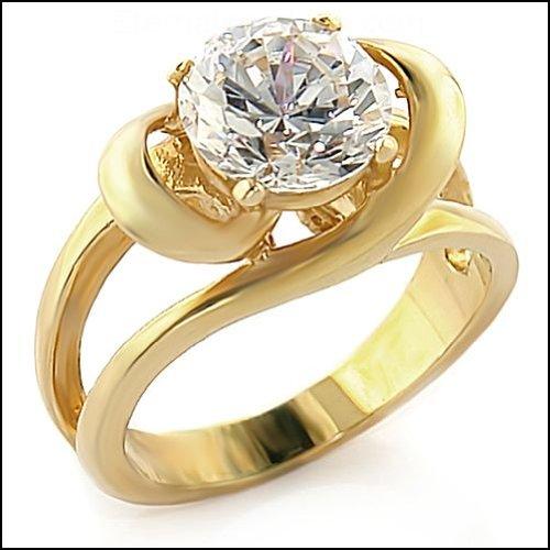 2 Carat Round Clear CZ Gold Tone Ring SZ 7