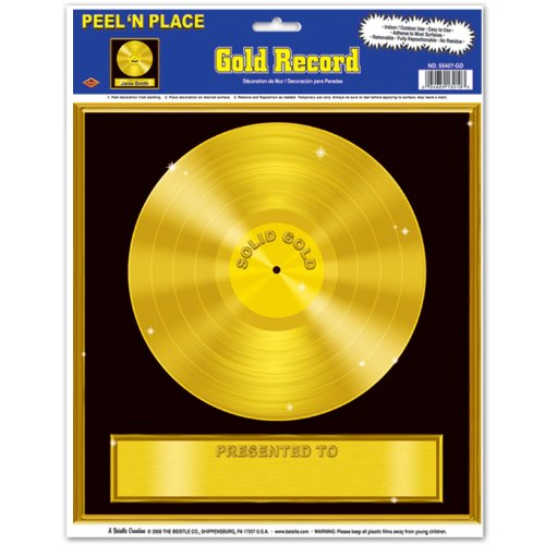 Beistle 55407-GD Gold Record Peel 'N Place Sheet, 12-Inch by 15-Inch