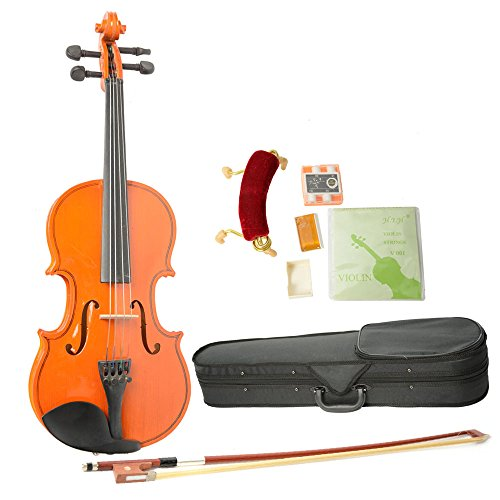 Olymstore(Tm) 1/4 Size Spruce Wood Acoustic Violin With Strings, Shoulder Rest, Electronic Tuner, Bag, Bow And Rosin Wood Color