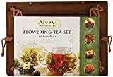 Glass Teapot & 6 Flowering Tea Blossoms -Numi Organic Tea Flowering Gift Set in Handcrafted Mahogany Bamboo Chest