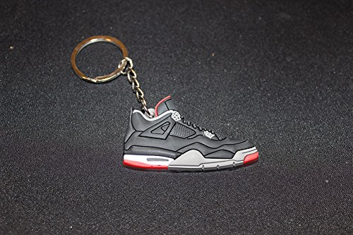 Air Jordan 4 V A4 Retro Bred Black/Red Key Chain Keychain