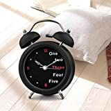 Retro 3 inches Silent Quartz Analog Twin Bell Alarm Clock with Nightlight and...