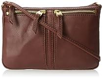 Fossil Erin Small Top Zip Cross Body Bag,Espresso,One Size
