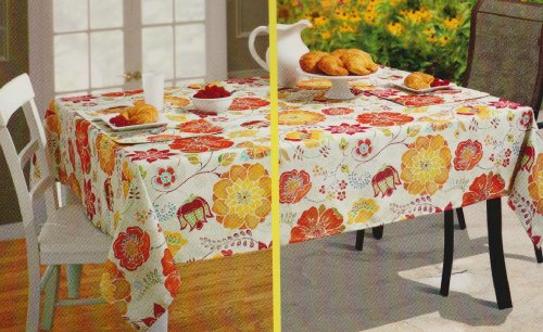 Floral Bloom Umbrella with Hole Zipper Indoor Outdoor Tablecloth Fabric