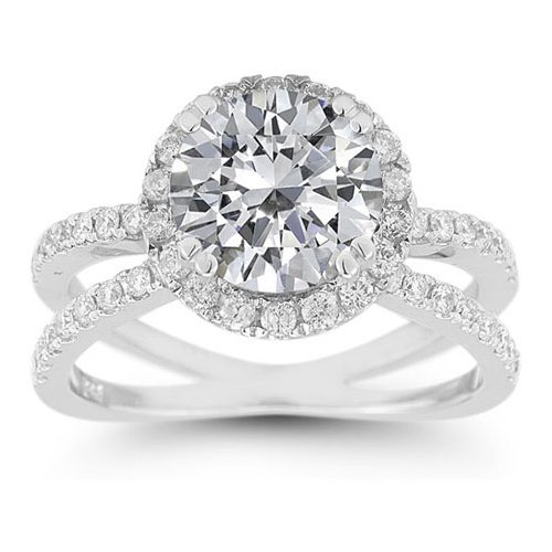 Pave Diamond Criss-Cross Moissanite Halo Ring