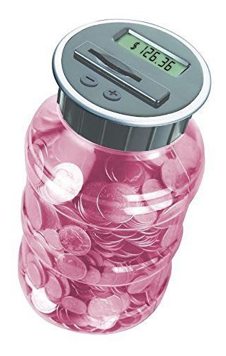 Digital Coin Bank Savings Jar - Automatic Coin Counter Totals all U.S. Coins including Dollars and Half Dollars - Transparent Pink (Large Money Jar compare prices)
