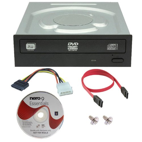 Lite-On Ihas124-04 24X Internal Sata Cd Dvd±R/Rw Dual Layer Disc Burner Drive Writer + Nero 9 Essential Software + Sata Cable + Ide To Sata Power Adapter