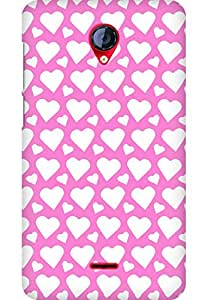 AMEZ designer printed 3d premium high quality back case cover for Micromax Unite 2 A106 (light pink white hearts)