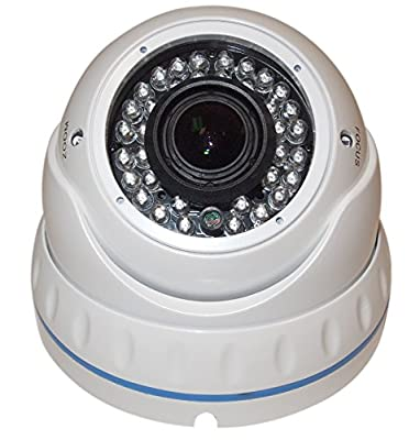 Evertech (CDM372 V.12 W) CCTV Security Camera - 1200 TVL, 36 IR LED Color, 2.8~12mm Wide Angle ZOOM Vari-focal Lens Indoor & Outdoor-Day & Night Metal White Home Security Surveillance Dome Camera - White