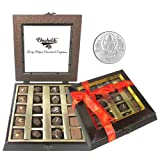Chocholik Belgium Gifts - Assorted Chocolates With Beautiful Wooden Box With 5gm Pure Silver Coin - Diwali Gifts