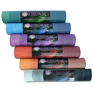 "Aurorae Northern Lights Yoga / Fitness Mats with Golden Sun Focal Icon, Unique one of a kind colors, 5mm Thick, 72"" Long, SGS approved, Free from Phthalates, Silicone and Latex. Bio-degradable, No odor. by Aurorae"