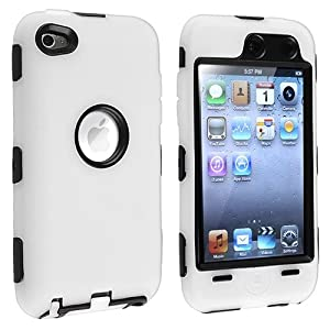 eforCity Hybrid Case for Apple iPod touch 4G - Black Hard/White Skin