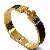 Buckle Bangle Bracelet 12MM Color Gold/Black