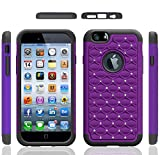 Iphone 6 Case, Meaci® Cellphone Case for Iphone 6 (4.7 Inch) 2 in 1 Case Combo Hybrid Case Glitter/bling Diamond Dual Layer Pc and Silicon Rubber Protective Case (purple and black)