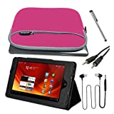Premium Black Stand Leather Case + Pink Gloving Pocket Bag + 3.5MM Stereo Cable + Earphone W/mic + Stylus Pen for Acer ICONIA TAB A100 7 inch Tablet