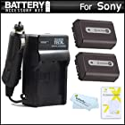 2 Pack Battery And Charger Kit For Sony Cyber-Shot DSC-HX100V, DSC-HX200V Digital Digital Camera Includes 2 Extended (1000mAh) Replacement NP-FH50 Batteries + Ac/Dc Rapid Travel Charger + LCD Screen Protectors + MicroFiber Cleaning Cloth
