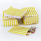 Paper Sweet Bags Striped 5 x 7 Inches - 1 Pack Contains 100 Bags - Yellow