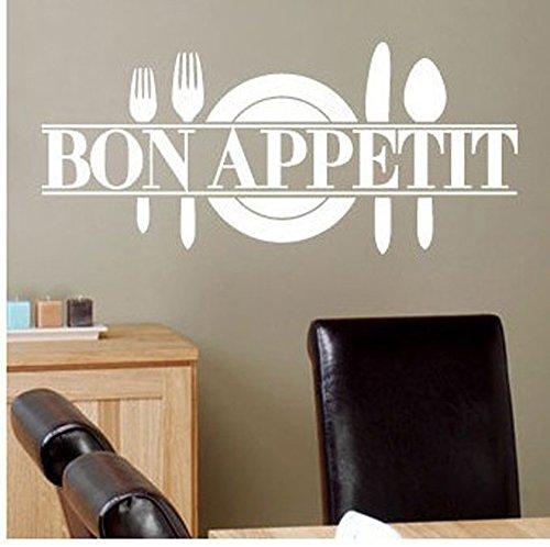 """ufengke® """"Bon Appetit"""" Coltello Piatto e Forchetta Adesivi Murali, Sala da Pranzo Cucina Adesivi da Parete Removibili/Stickers , Bianco"""