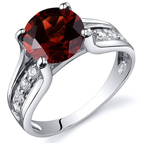 Garnet Solitaire Style Ring Sterling Silver 2.50 Carats Size 7 (Sterling Silver Garnet Ring compare prices)