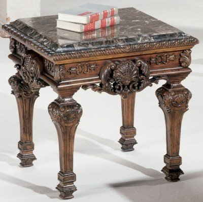 Image of Old World Dark Brown Stone End Table (B007TJWDV4)