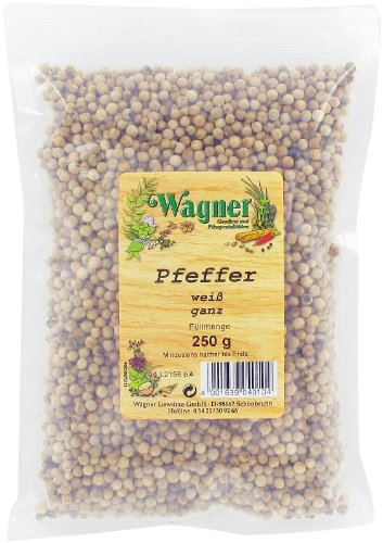 Wagner Gewürze Pfeffer weiß ganz, 1er Pack (1 x 250 g)
