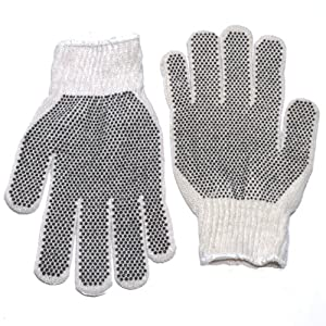 Pvc Double Dot Work Gloves Knit Wrist Large Size Dozen