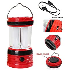 UDee Portable 8 LED White Light Solar Powered Rechargeable Camping Lamp Lantern