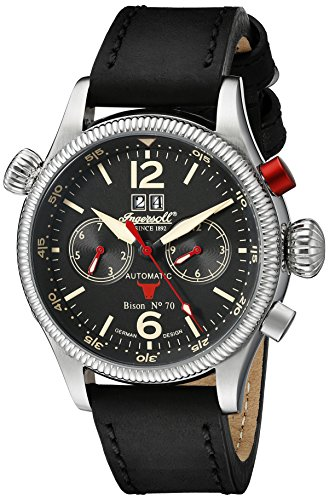 Ingersoll Unisex Automatic Watch with Black Dial Analogue Display and Black Leather Strap IN3225BK