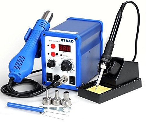 Buy Bargain 2in1 878ad Soldering Iron Rework Station Hot Air Gun + Tip + 3 Nozzles Heat Gun Holder W...