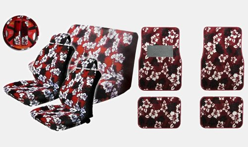A Set of 15-piece Red Hawaiian Floral Aloha Print with Hibiscus Flowers Auto Interior Gift Set - 2 Hawaii Aloha Low Back Front Bucket Seat Covers, 2 Hawaii Aloha Separate Headrest Covers, 2-piece Hawaii Aloha Bench Covers, 1 Hawaii Aloha Steering Wheel Cover, 2 Hawaii Aloha Shoulder Pads and 4 Hawaii Aloha Carpet Floor Mats for Cars / Truck