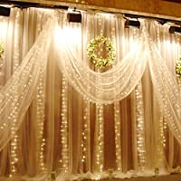 Ucharge Window Curtain Lights String 19.6ft 600led Christmas Festival Curtain String Fairy Wedding Led Lights for Wedding, Party, Home,Wall, Bathroom, Holiday Decorative Lights ( Warm White Light )