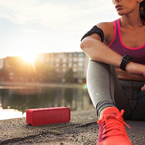 Anker SoundCore ポータブル Bluetooth4.0 スピーカー 24時間連続再生可能【デュアルドライバー / ワイヤレススピーカー / 内蔵マイク搭載】(レッド)