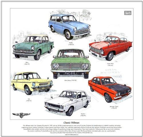 Classic Hillman Print --- Imp, Minx, Superminx, Husky, Avenger & Hunter. Ready to frame.