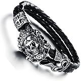 JewelryWe Bijoux Bracelet Homme Tête de Mort Crâne Gothique Diable Croix Anniversaire Halloween Noël Tresse Cuir Acier Inoxydable Fantaisie Couleur Argent Noir Longueur 18cm Avec Sac Cadeau
