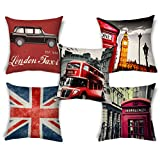 ShopMantra Vintage London Artwork Printed Printed Cushion Cover Set Of 5 Size 16*16 Inch 16*16 Inch