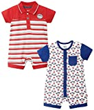 FS Mini Klub Baby Boys' Rompers - Pack of 2 (88EBORO0037 RD_0-3M, Red, 0 - 3 Months)
