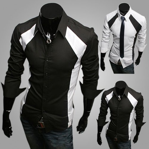 mens-casual-tux-shirtslim-fit-long-sleeve-shirt